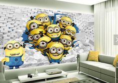 Custom animation wallpaper. Many small yellow people for children's room living room bedroom backdrop waterproof wallpaper
