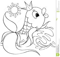 Illustration about Black-and-white illustration (coloring page): Golden Fish on a wave (fairy-tale character). Illustration of funny, book, children - 14555740 Fish Coloring Page, Adult Coloring Pages, Colouring, Pyrography Patterns, Golden Fish, Photo Gold, Peel And Stick Vinyl, Fish Stock, Border Print