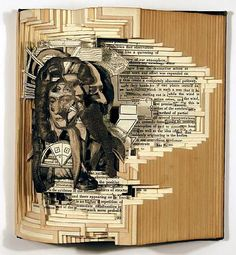 Brian Dettmer carves old books, using the prints & ink patterns on the pages to carefully create designs & patterns out of them.