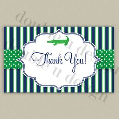 Alligator Thank You Note for a Baby Shower or Birthday - Printable with Color Options -  by double u design on Etsy
