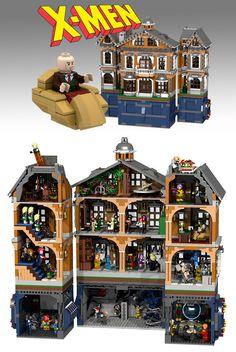 Mansão X - Instituto Xavier para Estudos Avançados feito toda em pecinhas LEGO