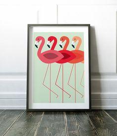 Flamingo Wall Art Prints Minimalist Wall Decor Flamingo Print
