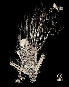 Time by Artist Yannick Bouchard ( Illustration / Art / Skeleton )  Pretty print for garden shack.