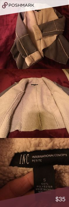 Petite inc faux suede  and shearling jacket Petite small gray 100% polyester faux softest suede and faux soft  shearling jacket . Really cute worn one time . Great with jeans and or leather  a must have in your wardrobe inc Jackets & Coats