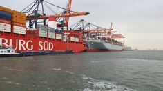 Two ships with 30.000 (6ft.) containers at the quay, Rotterdam