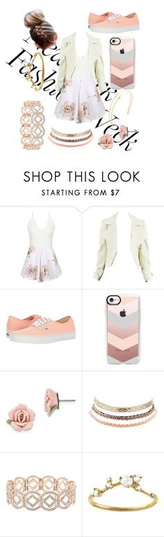 """NYFW Romper"" by meemers66 ❤ liked on Polyvore featuring WithChic, Vans, Casetify, 1928, Charlotte Russe, Accessorize, WWAKE and Mrs. President & Co."