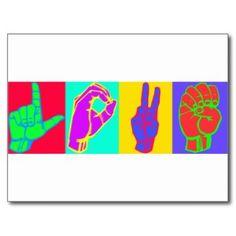 Sign Language LOVE Postcard
