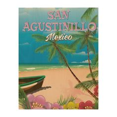 San Agustinillo Mexico Beach poster Wood Wall Art