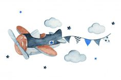 Adorable Sky Scene With Air Plane, Garland, Clouds And Stars, Watercolor Hand Drawn Illustration. Airplane Nursery, Airplane Art, Balloon Illustration, Squirrel Illustration, Boat Cartoon, Baby Posters, Baby Frame, Baby Penguins, Little Elephant