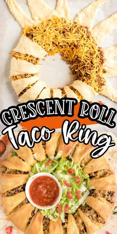 Looking for an easy appetizer? This Beef Taco Ring made with Crescent Rolls is all that and more. Great appetizer for a crowd for your next party or game day! Appetizers For A Crowd, Meat Appetizers, Appetizer Recipes, Recipes Dinner, Croissant, Cressant Roll Recipes, Crescent Roll Taco Ring, Taco Ring Recipe, Taco Dinner