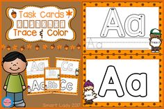 FREE Task Cards Alphabet (FALL EDITION)  Students will love learning the alphabet using the task card method, so learning becomes more fun, with coloring and trace activities, which can train students' skills.