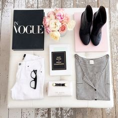 Black and white, stripes, roses. #flatlay #spring