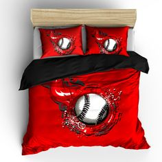 Custom Red Flame Baseball Bedding Personalized to Your Instructions (870 DKK) ❤ liked on Polyvore featuring home, home decor, bedding, black, home & living, baseball home decor, personalized home decor, red home accessories, red home decor and black home decor