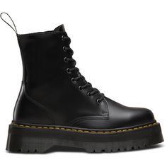Dr. Martens Leather Jadon Platform Boots (660 RON) ❤ liked on Polyvore featuring shoes, boots, black, black military boots, platform boots, leather boots, black shoes and black platform shoes