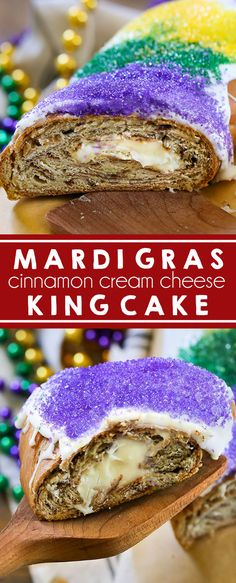Mardi Gras King Cake - A New Orleans classic, this King Cake is the perfect way to start the carnival season and tastes just like a cinnamon roll. Fat Tuesday I King Cake I New Orleans I Cinnamon Roll I French Pastry I Louisiana I Mardi Gras I Holiday  #MardiGras #KingCake #NewOrleans