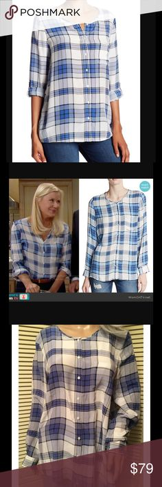 """JOIE karianna plaid silk button down tab LS top  L Karianna Plaid Silk Top  TAG SIZE:  Large  CONDITION New With Tags   MATERIAL: 100% Silk  COLOR:  """"Faded Sky Blue"""" Blue Plaid/Check APPROX MEASUREMENTS (Lying Flat): Bust-   20 inches  Waist- 20 inches     Length- 27.5 inches Sleeve- 24.5 inches Shoulder- 16 inches Fit/Style- Loose Fit - Long Adjustable Dual Button Close Sleeves - Scoop Neck- Fabric Stretch-  Some Stretch  Fabric Weight-  Light Weight Closure-   7 Button Front Pockets…"""