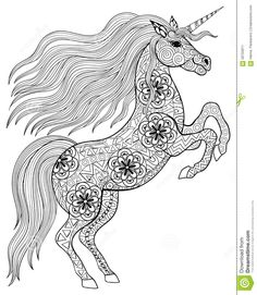 Hand Drawn Magic Unicorn For Adult Anti Stress Coloring Page Wit Stock Vector