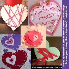 Valentine Lacing Hearts Five Ways! - With triangle notches (theoutlawmom.com), Running stitch (tangledandtrue.blogspot.com), whip stitch (inspire-create.com) or lace like a shoe  --(theclassroomcreative.com)! All excellent ideas.  The one in the middle is really cool.  Two pieces of paper cut with scallop scissors (could be hearts too) laced together into a packet and stuffed with candy hearts!  - from the pediastaff Instagram feed Instagram.com/pediastaff