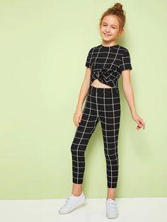 Clothes For Girls - Girls Twist Front Grid Top & Leggings Set Preteen Girls Fashion, Teenage Girl Outfits, Girls Fashion Clothes, Kids Outfits Girls, Cute Girl Outfits, Cute Outfits For Kids, Teen Fashion Outfits, Little Girl Outfits, Girly Outfits