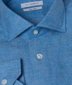 Chemise cintrée en flanelle bleu à motif chevron