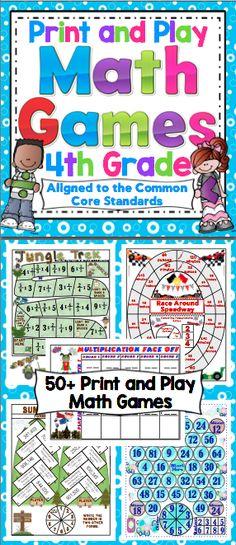 Math Games and Centers: Grade Print and Play (No Prep) Make math class… 4th Grade Math Games, Fourth Grade Math, Math Tutor, Teaching Math, Math Education, Maths, Math Board Games, Fun Math Games, Math Activities