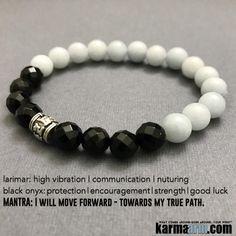Om Mani Padme Hum Mantra Wheel: Larimar   Black Onyx   Yoga Chakra Bracelet