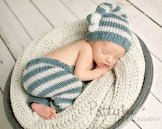 Newborn Knit Pants Hat Set, Baby Knitted Night Cap, Infant Photo Prop, Longies, Chocolate and Cream, Blue and Pale Gray Stripes