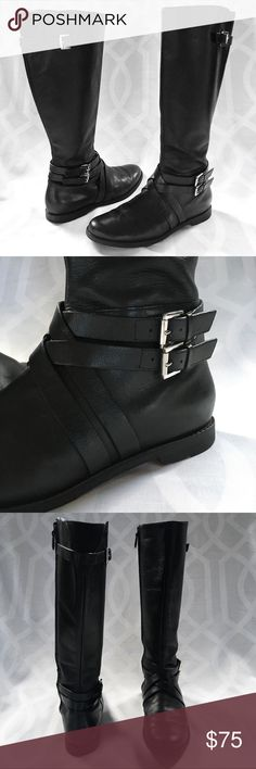 COLE HAAN Leather Riding Boots COLE HAAN Black Leather Moto Riding Boots. Double Wrap Buckle & Criss-Cross Lattice at Ankle. Buckle & Gusset at Knee. Side Zip. Winter Ready. Sophisticated all year round.  Material: Genuine Leather  Style D38582 Size: 9 1/2 B Heel Height: 1/2in Sole Height: 1/4 in Shaft Height: 16in Calf Opening: 15in  Excellent/EUC Preowned Condtion. Signs of wear on sole, heels worn down, right heel has small crack but is still firmly attached. Faint scuffs on leather, some…