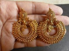South Indian Antique Gold Plated CZ Kundan Polki Wedding Earrings Jhumka Set 1