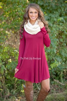The Simple Things Burgundy Dress - The Pink Lily Boutique