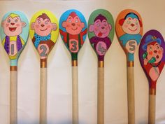 Five cheeky/little monkeys number rhyme wooden spoon puppets. Wooden Spoon Crafts, Wooden Spoons, Nursery Rhythm, Prop Box, Eyfs Activities, Spoon Art, Marker, Little Monkeys, Classroom Inspiration