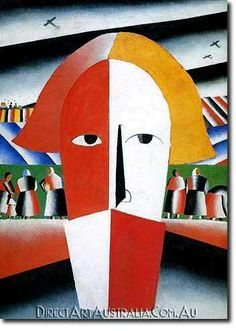 Kasimir Malevich | Head of a Peasant, 1928-32 - Direct Art Australia,    Availability: Delivery 10 - 14 days,  Shipping: Free Shipping,  Minimum Size: 50 x 60 cm,  Maximum Size : 100 x 150 cm,   View the artwork before it is sent! www.directartaustralia.com.au/