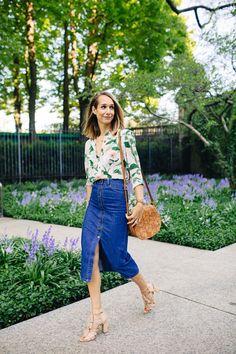floral shirt, denim midi skirt, tassel sandals