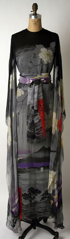 Printed silk evening dress, by Hanae Mori, American, fall/winter 1974-75.