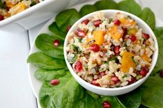 Minute® Multi-Grain Medley Rice, roasted butternut squash, spinach and pomegranate arils make this colorful Fall side dish perfect for your holiday table.
