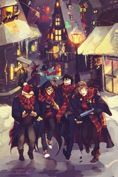 By Viria; The Maruders- Prongs (James Potter), Padfoot (Sirius Black), Moony (Remus Lupin), and Wormtail (Peter Pettigrew)