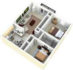 Two Bedroom House Design, 2 Bedroom House Plans, Bungalow House Design, Small House Design, House Rooms, Home Layout Design, Dream Home Design, Home Design Plans, 3d House Plans
