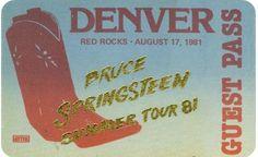 OTTO Passes - Satin Stick On Backstage Pass - Bruce Springsteen – 1981 Denver