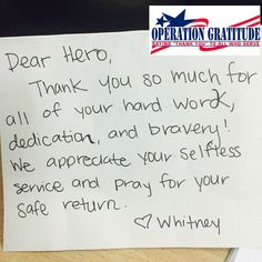this note made a soldier smile and she wanted us to pass along a message