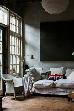 """living room with """"Union Jack"""" #flag scatter cushion"""