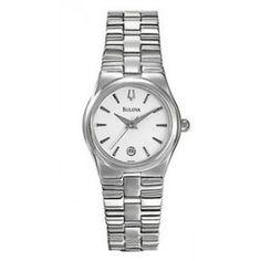 Bulova Women's Stainless Steel Case Watch w/ White Round Dial