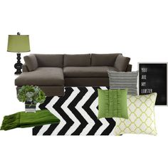 Green Black And White Living Room Inspiration By Lizpenn On Polyvore Grey RoomsLiving