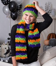 Jittery Stripes Hat & Scarf Free Crochet Pattern from Red Heart Yarns