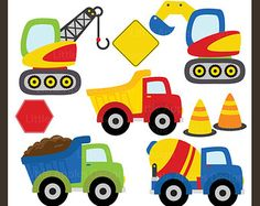 Construction Clip Art / Construction Clipart / Truck by DreamyDuck Construction Crafts, Construction Birthday, Construction Images, Crochet Car, Free Crochet, Car Blanket, Baby Mobile, Boy Quilts, Baby Kind