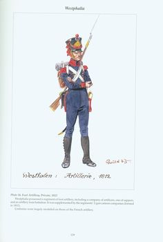 The Confederation of the Rhine - Westphalia: Plate 16. Foot Artillery, Private, 1812