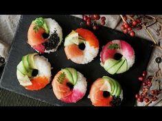 make cute sushi using mold template Sushi Donuts, Sushi Cake, Sushi Party, Sushi Sushi, Cute Food, Yummy Food, Tasty, Food Design, Food Porn
