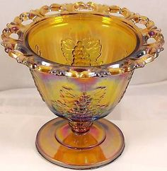 Vintage-Indiana-Amber-Iridescent-Carnival-Glass-Candy-Dish-Grape-Pattern-No-Lid