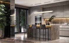 Residential interior with natural materials on Behance Contemporary Interior Design, Modern Kitchen Design, Interior Design Kitchen, Interior Decorating, Interior Design Courses Online, Apartment Interior, Interiores Design, Luxury Homes, House Plans