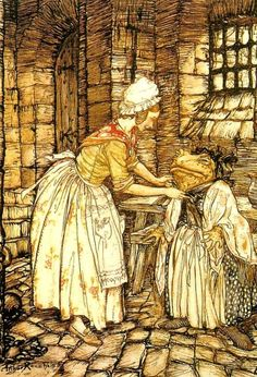 Toad Dresses Up. From the book The Wind in the Willows by Kenneth Grahame, illustrated by Arthur Rackham