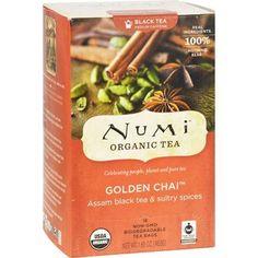 Numi Golden Chai Spiced Assam Black Tea - 18 Tea Bags - Case of 6